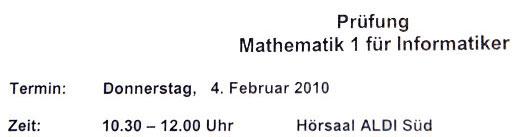 Prüfung Mathematik I